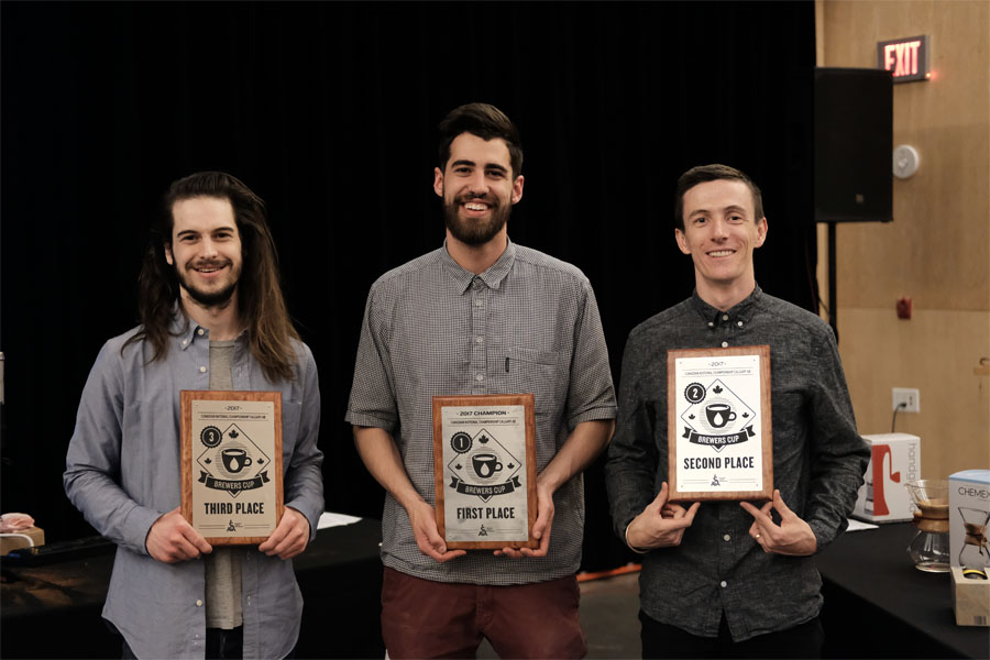 Canadian Brewers Cup - 1st Javaid Shah (Phil & Sebastian Coffee) 165.2 points2nd Ben Put (Monogram Coffee) 164.4 points3rd Wesley Griffin (Finch on Locke) 163.27 points4th Erich Chmiel (Eight Ounce Coffee) 163.19 points