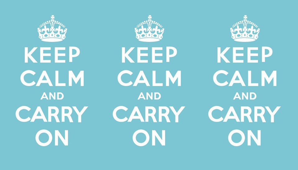 "The Surprising Origins Of That Blasted ""Keep Calm And Carry On"" Graphic   By Belinda Lanks,  fastcodesign.com    The graphic was designed during WWII to be used only during crisis. But it was lost to history until found in a dusty bookstore basement.  ""Keep Calm and Carry On""—sud­den­ly, the slo­gan, print­ed on a col­ored back­ground and topped with a roy…     keep calm and carry on.  http://flpbd.it/3GJYO"
