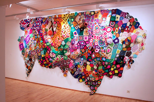 Sarah Applebaum   installation made from afghans, vintage blankets, felt, and yarn     love this. this is brilliant.