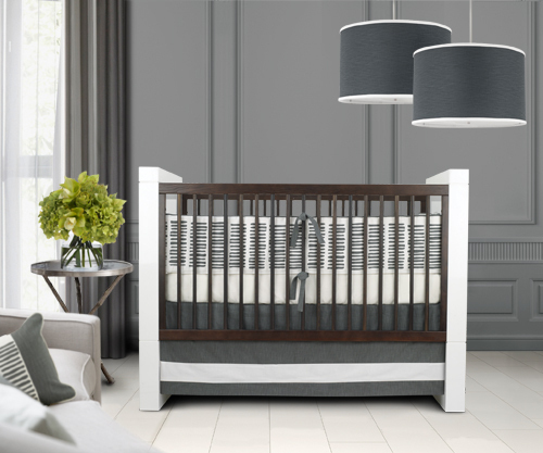marilynjean :     A little plain for my tastes, but I love it just the same. Gray for a baby's room! So innovative.   (via  Oilo Studio Crib Bedding | Apartment Therapy Ohdeedoh )     this is grand.  love it.