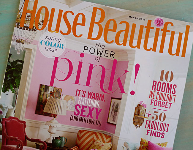 painttheworldpink :      house beautiful - march 2011    thanks goodness the boyfriend pointed this magazine out to me. it was  love at first sight .     omgsh! this issue is amazing. i bought it a few weeks ago as soon as i flipped through b/c there was so much i wanted to use for my wedding. SCREW martha stewart weddings— house beautiful is WHERE IT'S AT