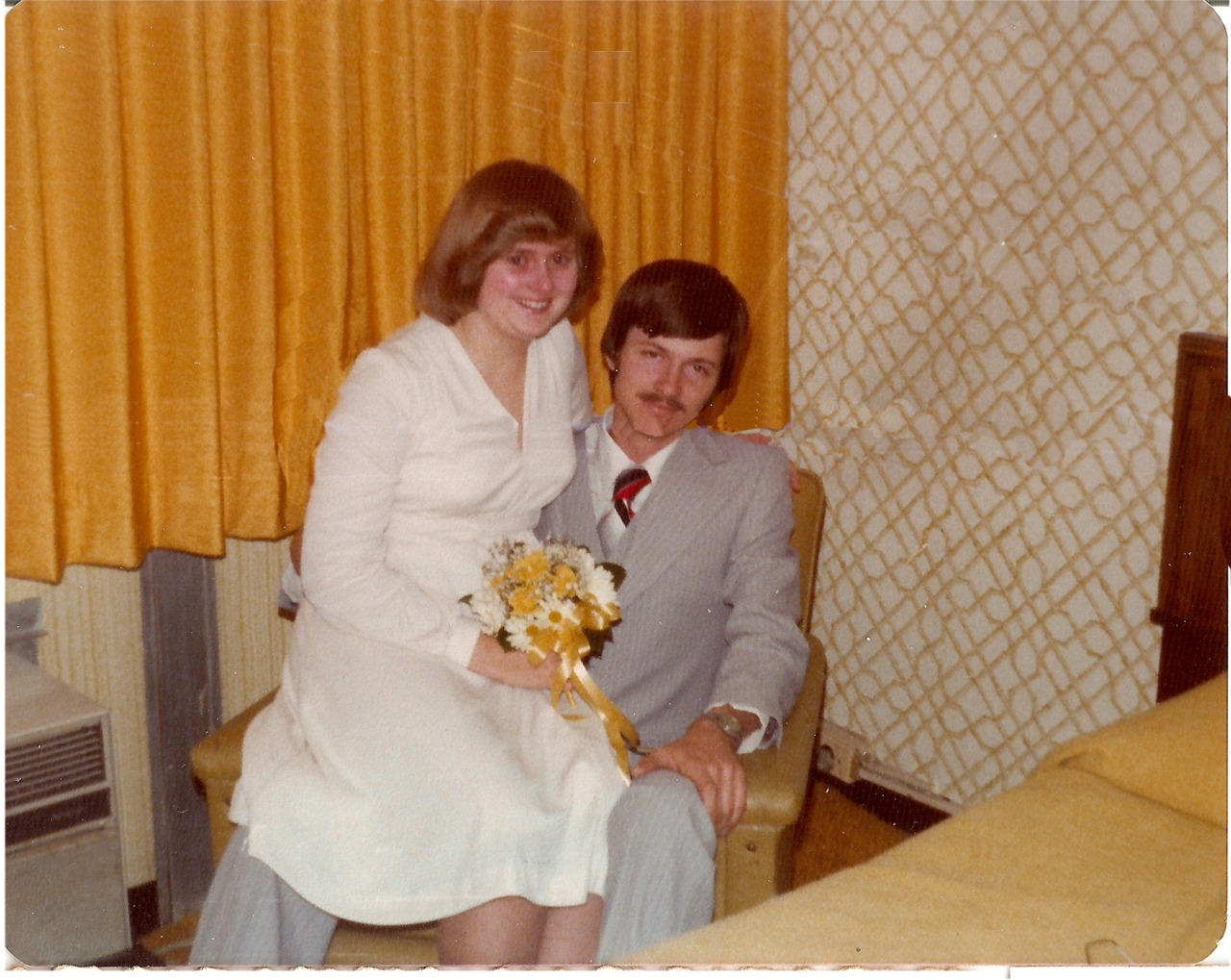 my mom and dad right after their wedding reception… 34 years ago today. my sweet mom… so happy she was crying. i love that. can't wait to be in that place… where i am so happy to be with the love of my life. yay for august 5th.
