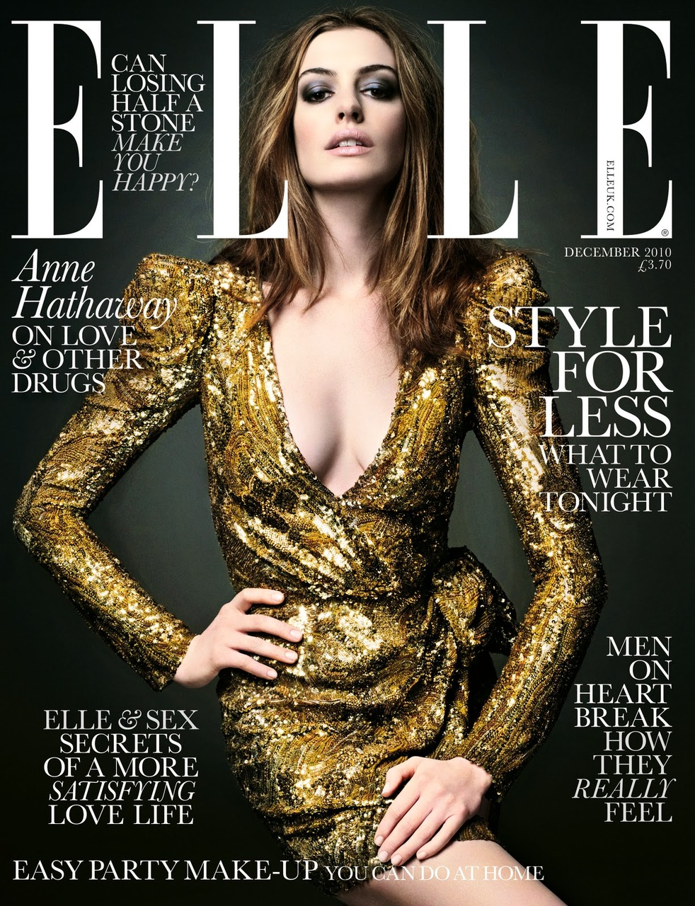 hollyhannah :      bohemea :     Anne Hathaway - Elle UK, December 2010    Uhm, world. That dress is gorgeous.   this dress is perfection.  no doubt about that.