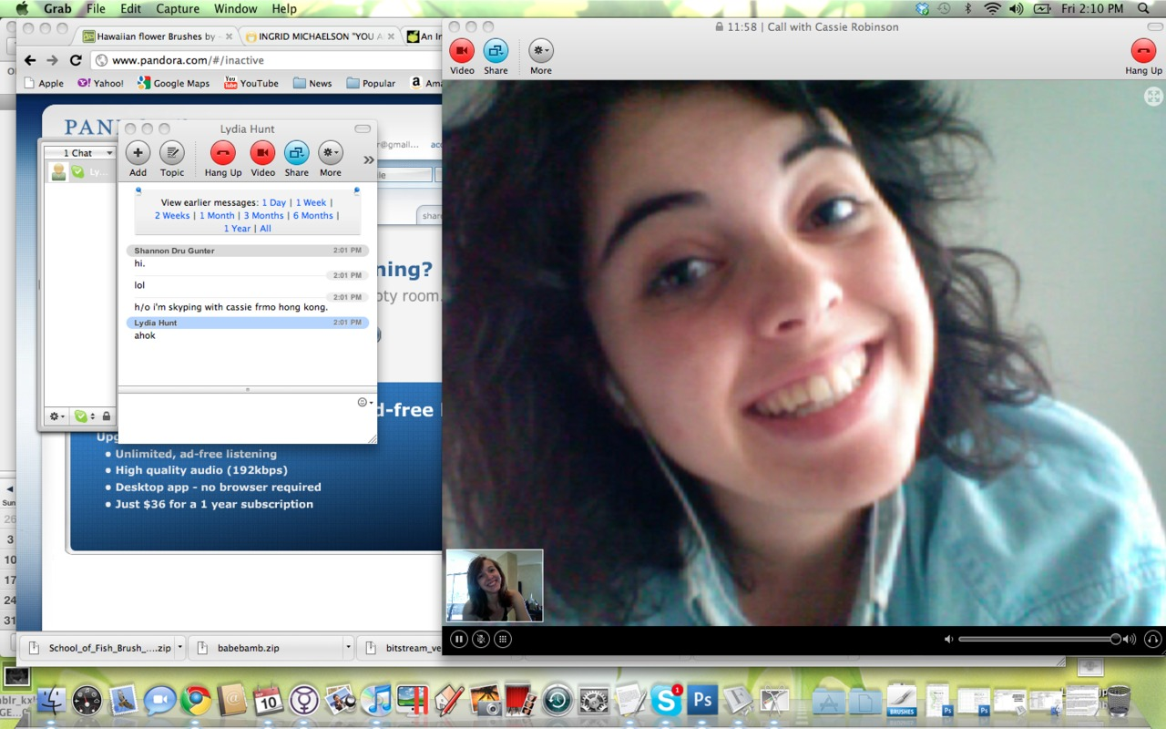 i skyped with my sweet cassie today… she's finally in hong kong.  : )