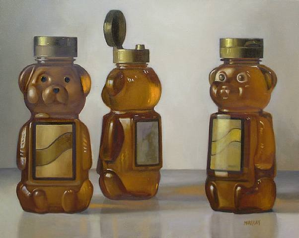 "margaret morrison. 2005. honey bears. oil on canvas. 24""x30"". woodward gallery.  new york, ny."