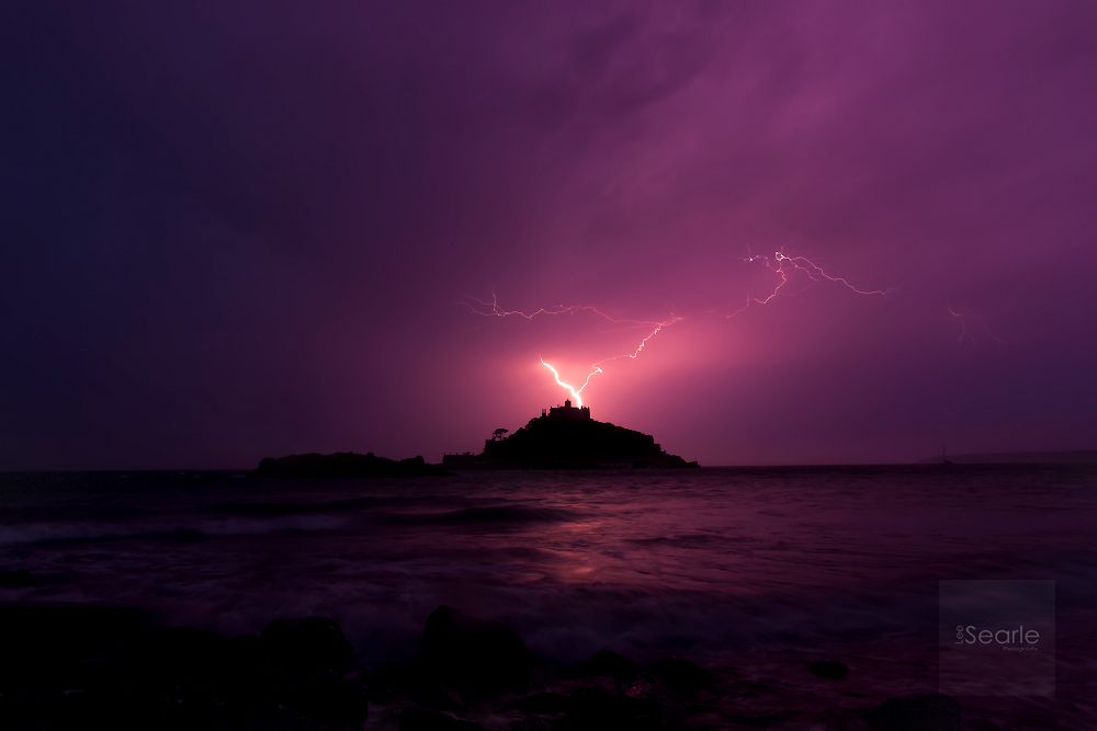"""A3 Poster print """" Lightning over St Michaels Mount """" Print does not contain any logos or watermarks as seen above. Click the image to purchase."""