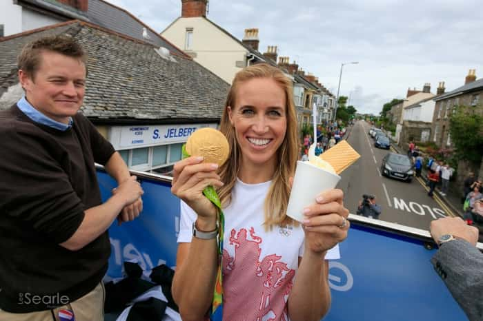 Helen Glover outside Jelberts