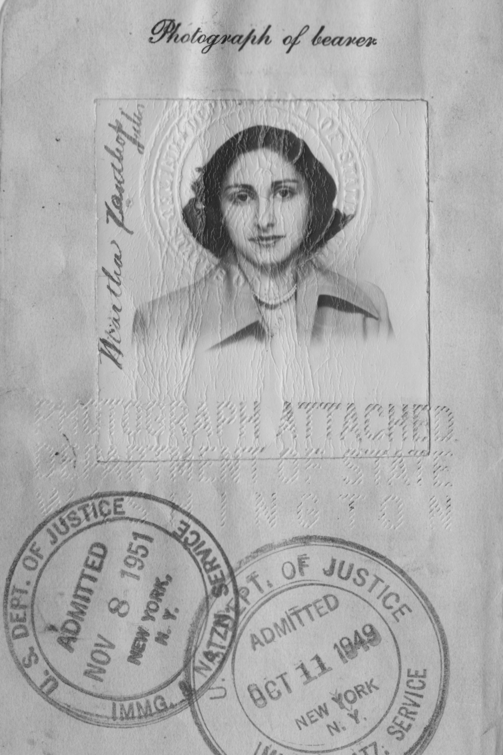 My mother's passport photograph when she was 19 years old.