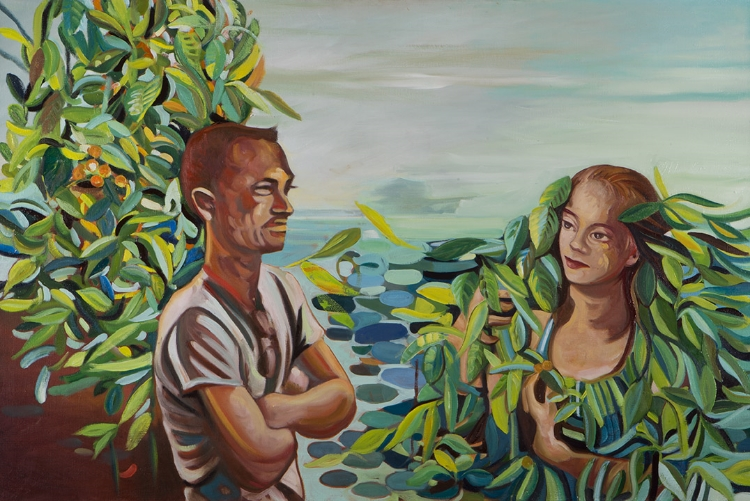 You are made of Wellsprings and Lakes shone  (2014) Oil on Canvas/ 40 x 48 inches
