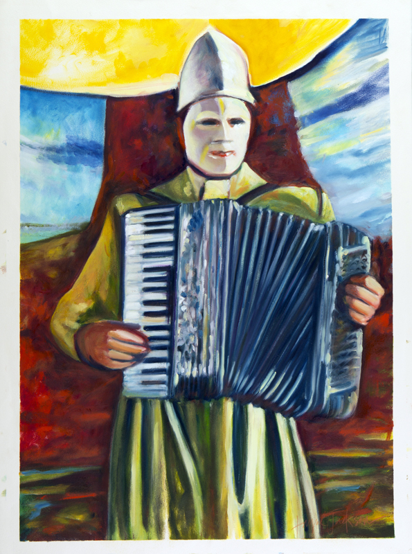 Accordian Man . Oil on Paper. 22 x 30 inches.  Available