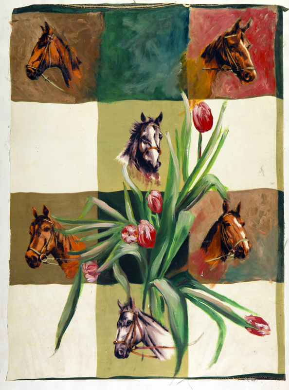 Horses and Tulips.  Oil on Silk. Paper. 22 x 30 inches.  Available
