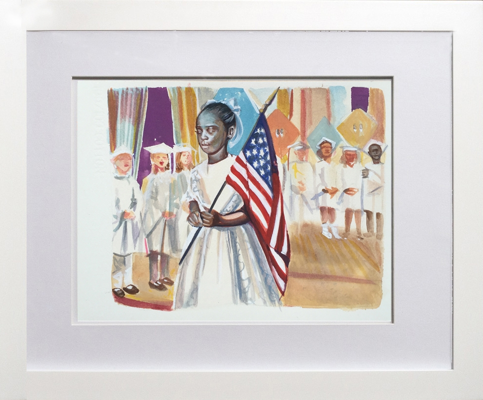 Fabiola Rodney holds the Flag Watercolor on Paper 12 inches x 8 inches