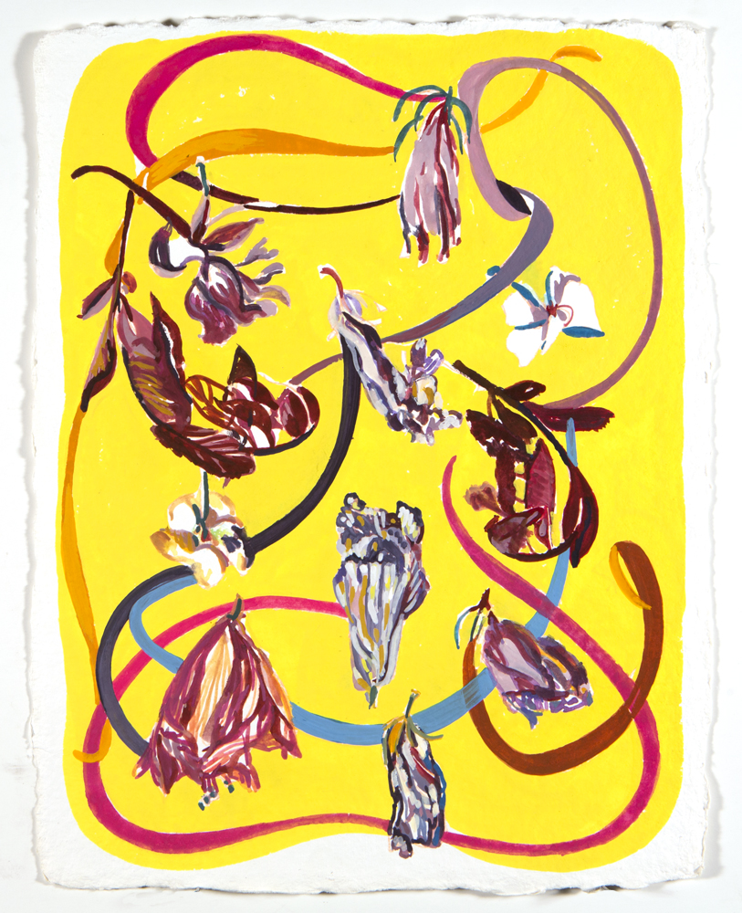 """Ribbons + Flowers  (2017) Gouache on Hand Milled French Paper/ 9 x 13 inches (image). Framed 16 x 20"""""""