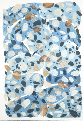 Blue terrazo—hand painted pattern