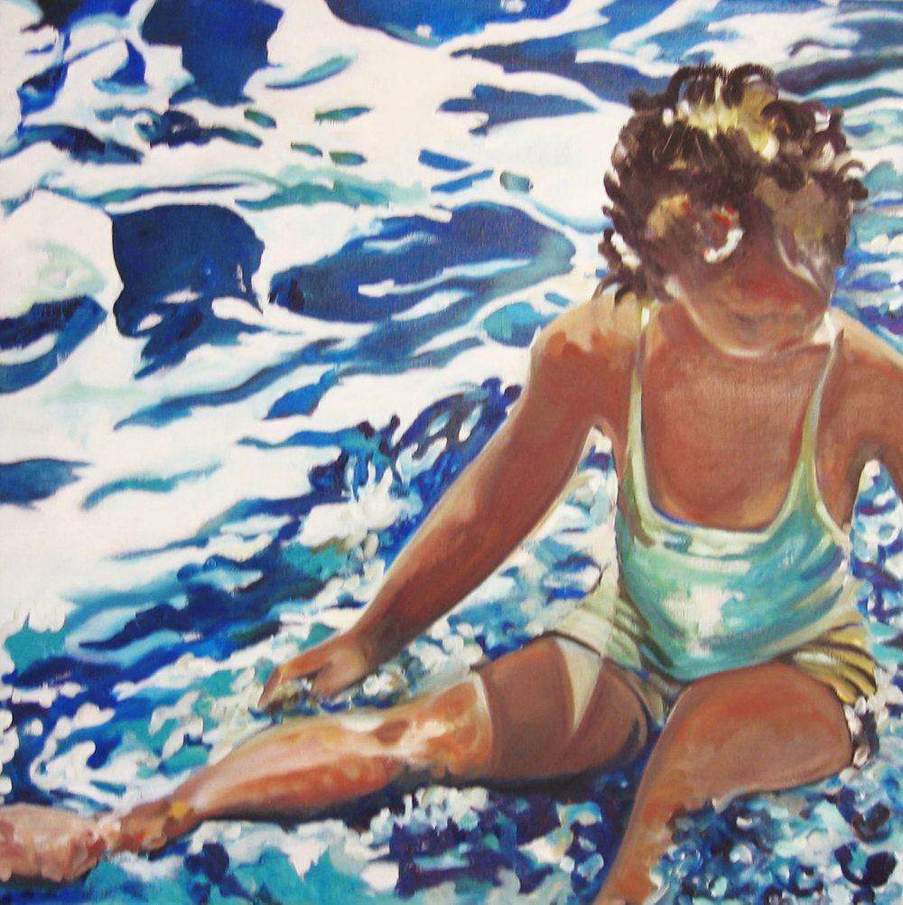 Water Baby . Oil on Panel. 24x24 inches. Private Collection