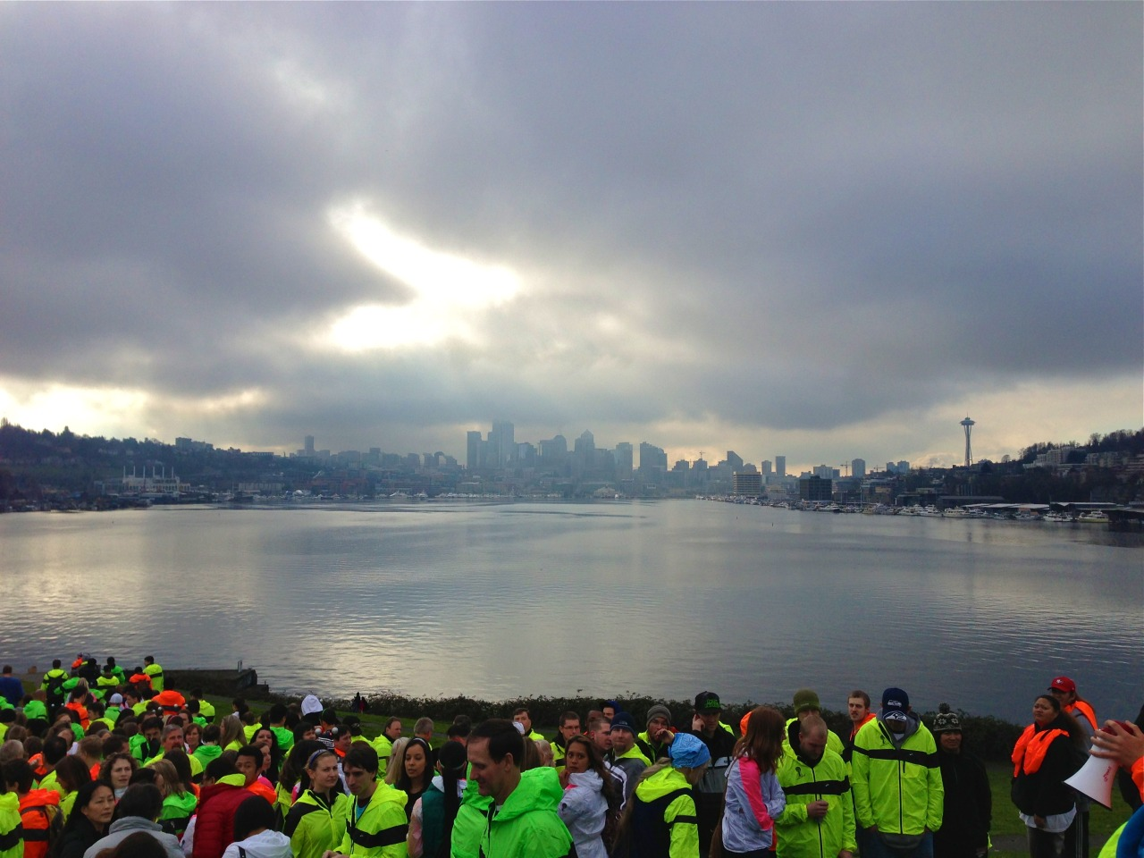 Seattle skyline photo op. (also, the brooks logo is kind of shining through the clouds!)