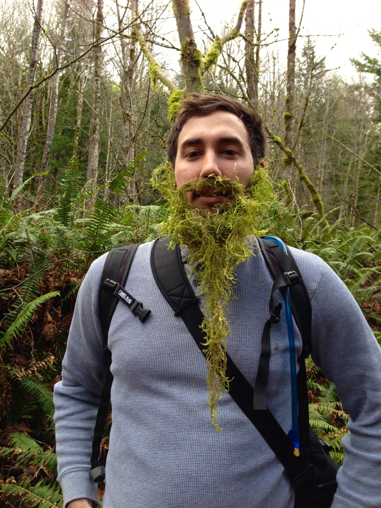Elliot sprouted a moss beard 2 minutes into the hike.