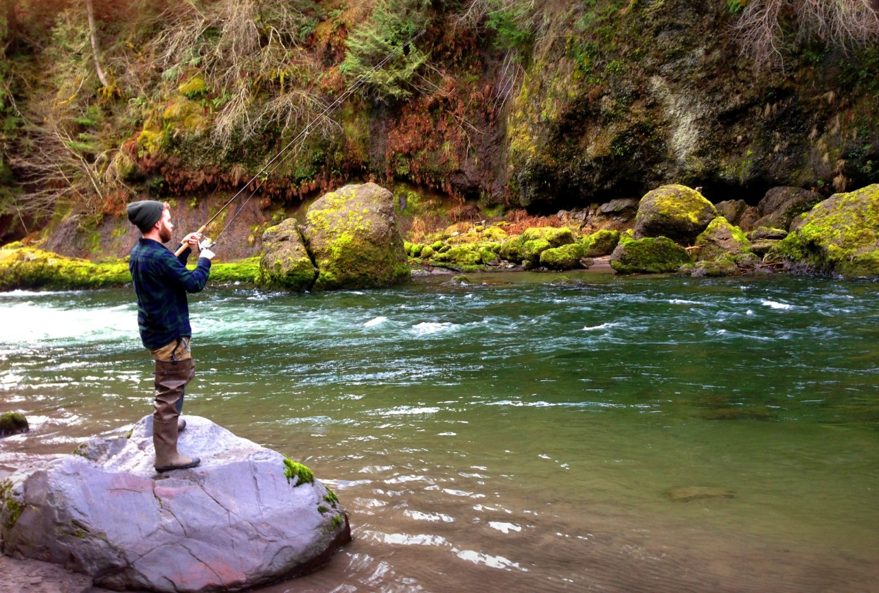 Steelhead fishing the Sandy River in Oregon.