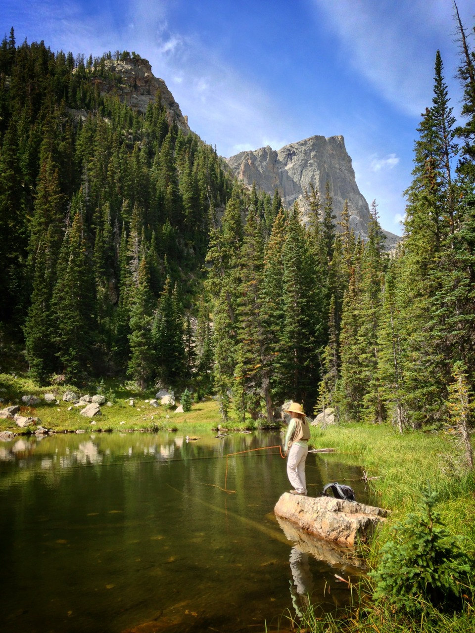 Fly fisherwoman at Rocky Mountain national park