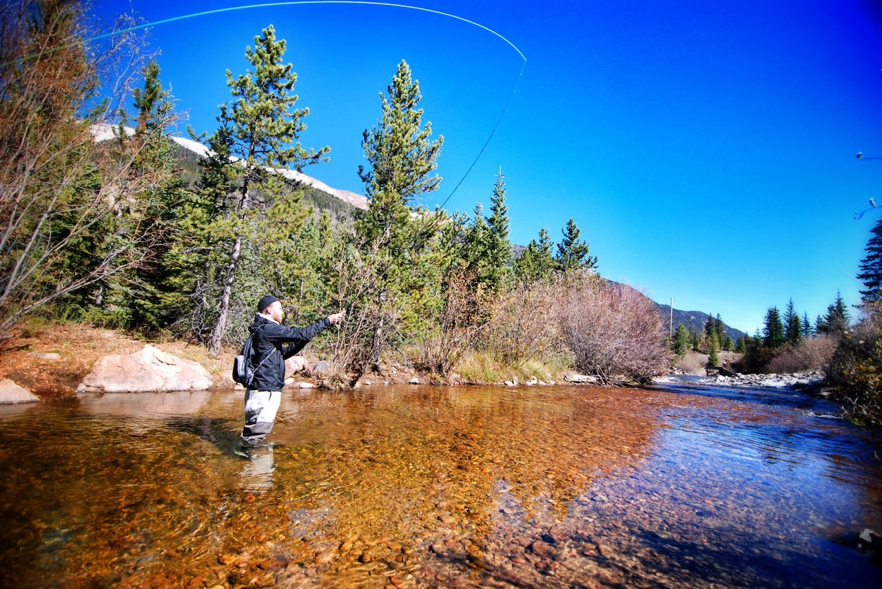 Fly fishing clear creek in Colorado