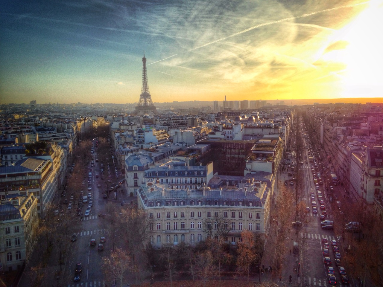 Top of the Arc de Triomphe at sunset