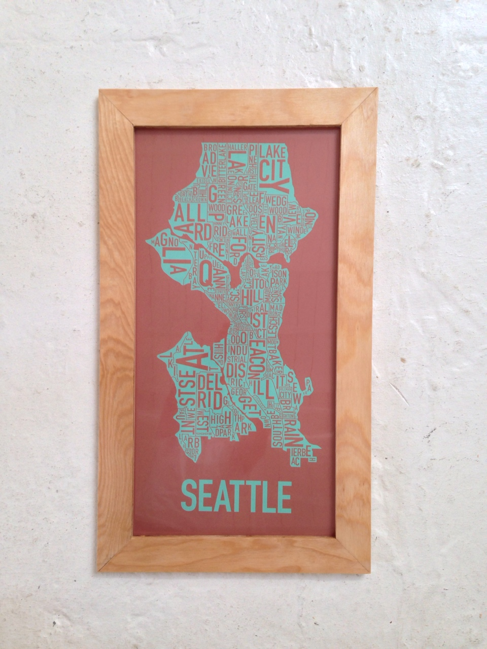Made a custom frame for my Seattle screen-print out of scrap wood today