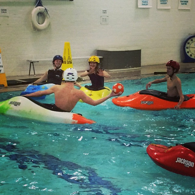 A twist on #waterpolo.  Got to learn how to hand roll! #kayakwaterpolo #jacksonkayak #ymca #redwingelc