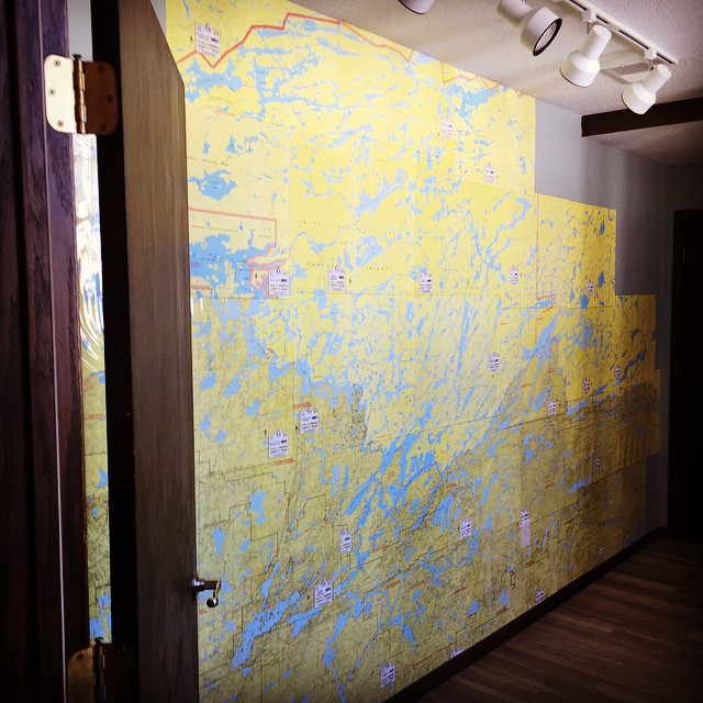 Time to plan a route! The wall map of the #BoundaryWaters and the #Quetico is complete. #canoeing #BWCA #wintercamping #portaging #redwingelc #map