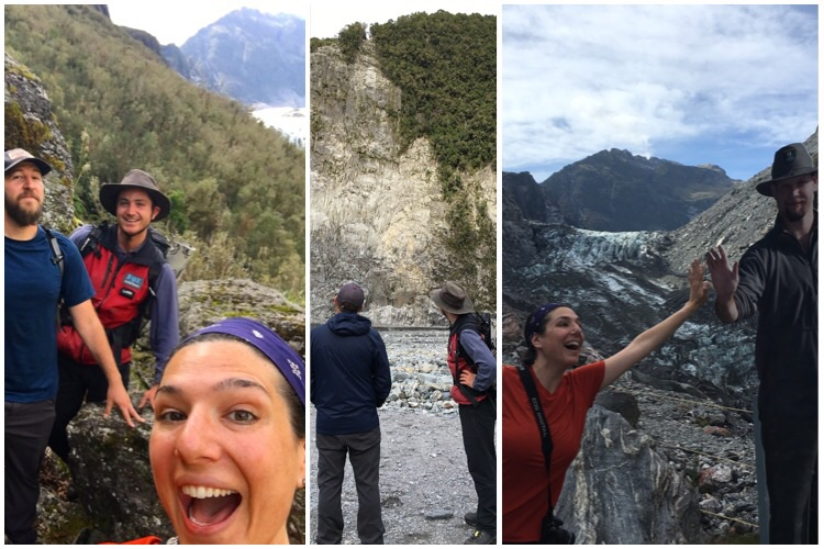 Our guide was a good sport to be in our dumb selfies/ the top of the cliff is where folks used to step out onto and on top of the glacier / and high fives with the sign guide telling me to stop and go no further. We shall pass (safetly with a guide)!