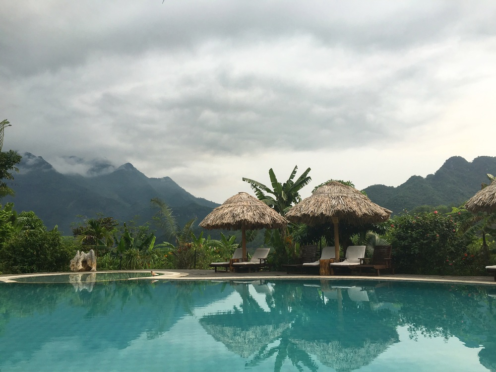 Mai Chau Ecolodge pool, before a storm.