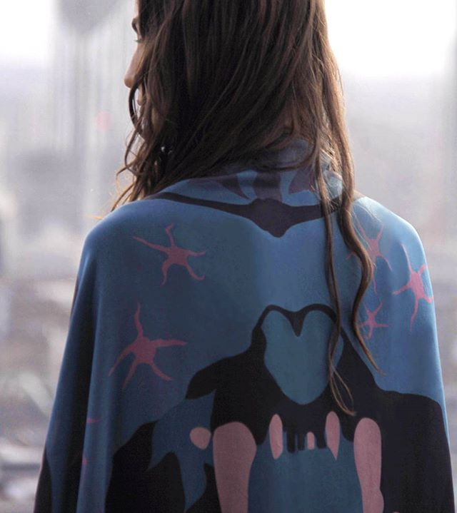 Silk Sabertooth Cape ♥☀⚫ #amusthave #essential #cape #powercape #dinosaur #bones #sabertooth #dinosaurbones #silk #luxury #print #styleblogger #chic #teeth