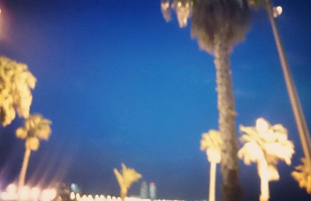 Check you later Barcelona 💙✌💛 #itsbeenemotional #lovethiscity #beach #Barcelona #palmtree #nighsky #workhardplayhard