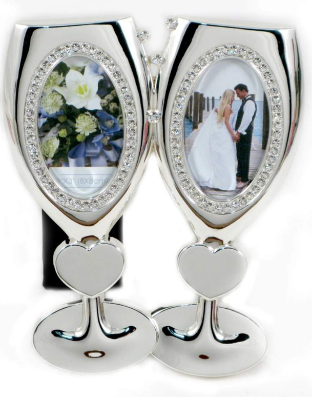 Silver Plated Double Glass Oval Shaped Frame (Includes Engraving ...