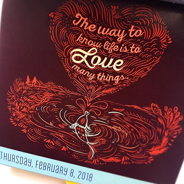 """The way to know Life is to Love many things"" Thursday, Feb 8 2018 @kongweepang @workmanpub . . . . . #artistsoninstagram #calledtobecreative #pageadaycalendar #calendar #illustration #inspirationalquotes #dailyinspiration #workmanpublishing #collaboration #creativehappylife #memphisart"