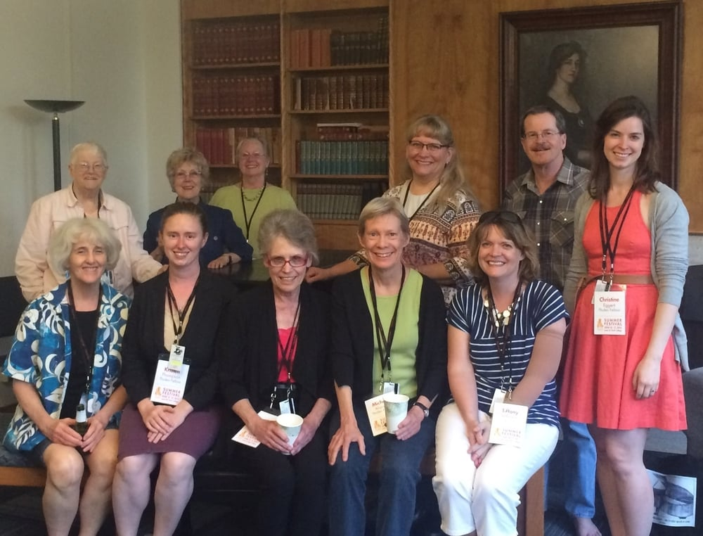 Nellie Tholen Fellows at the 2015 PPI Summer Festival at Lewis & Clark College.  Standing from left to right: Rita Warton, Helen Jones, Mary Venard, Marsha Hall, Pat Daly  Seated from left to right: Jessica Treon, Kristen Thompson, Mary Lee Scoville, Michele Alspach, Tiffany Jefferson