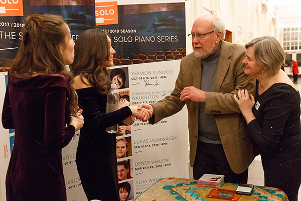 Christina and Michelle are introduced to SOLO founder Harold Gray. Photo credit: John Rudoff