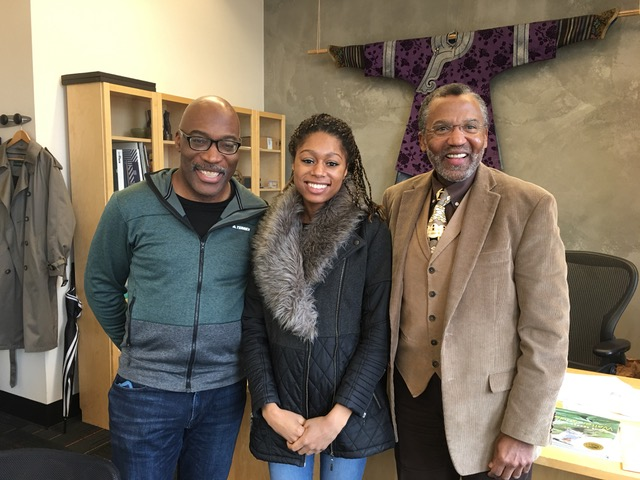 Isata meets with Darrell Grant and PSU's Dean of the College of the Arts, Leroy Bynum.