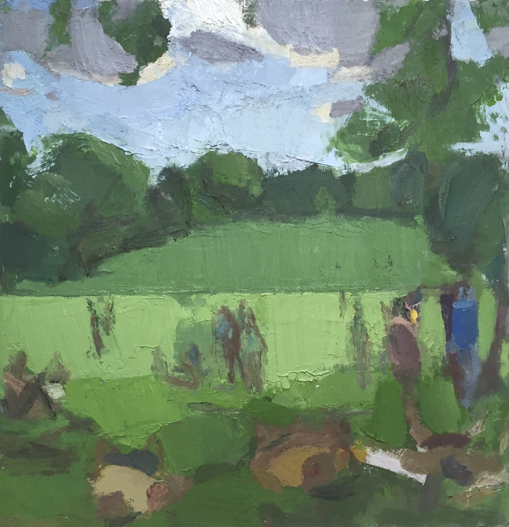 Dog Hill, Central Park, 2014-15, Oil on linen, 52 x 50 inches.