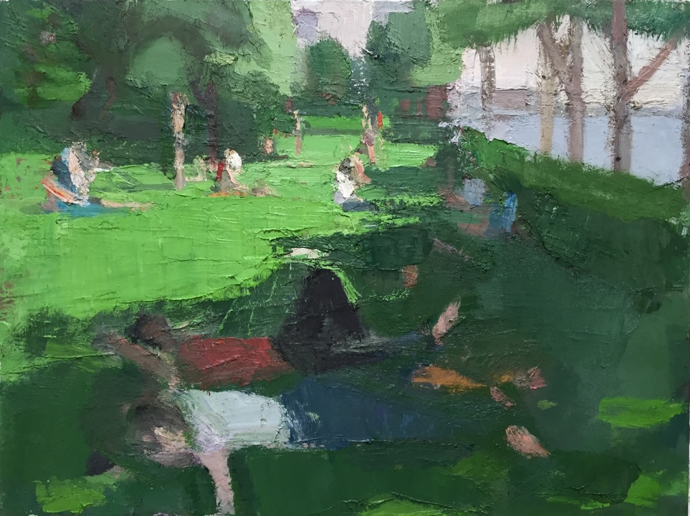 Hudson River Park, Early Summer, 2012-15, Oil on linen, 30 x 40 inches. Click    HERE    for close up images.