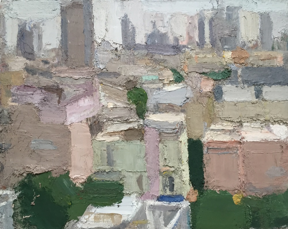 Tel Aviv 1, 2015, oil on linen, 44 x 54   inches