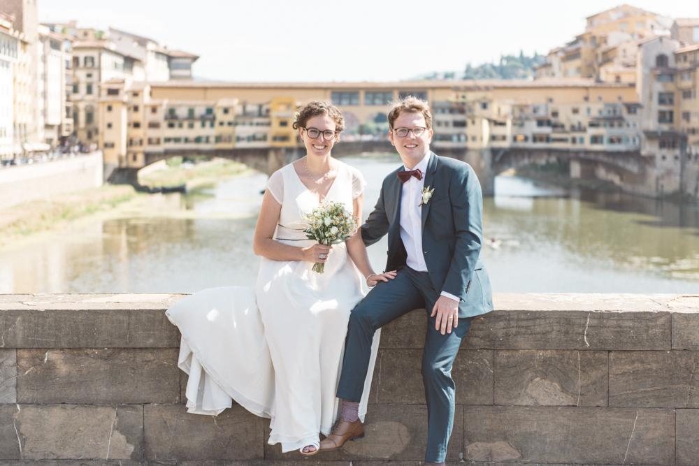 Letizia & Wout, Ponte Santa Trinita overlooking Ponte Vecchio, Florence