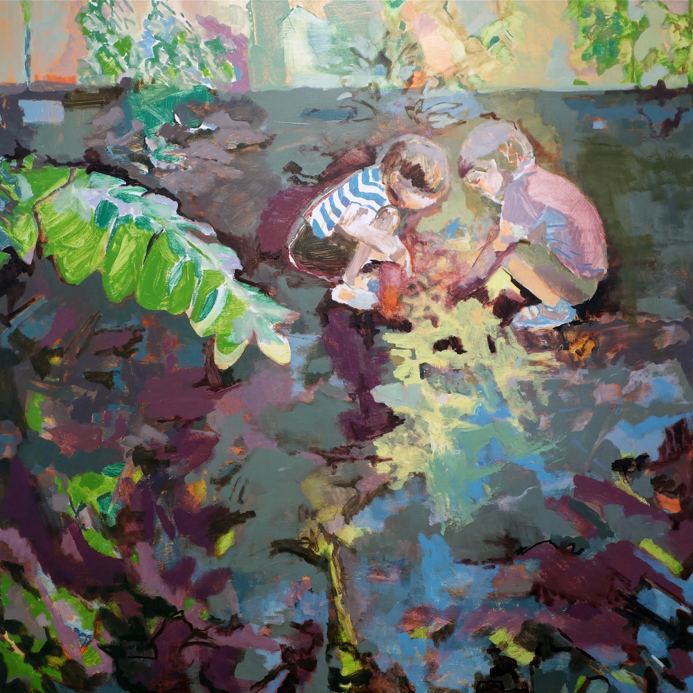 Sun Sets as Boys Dig, oil on linen, 52 x 52 inches, 2013