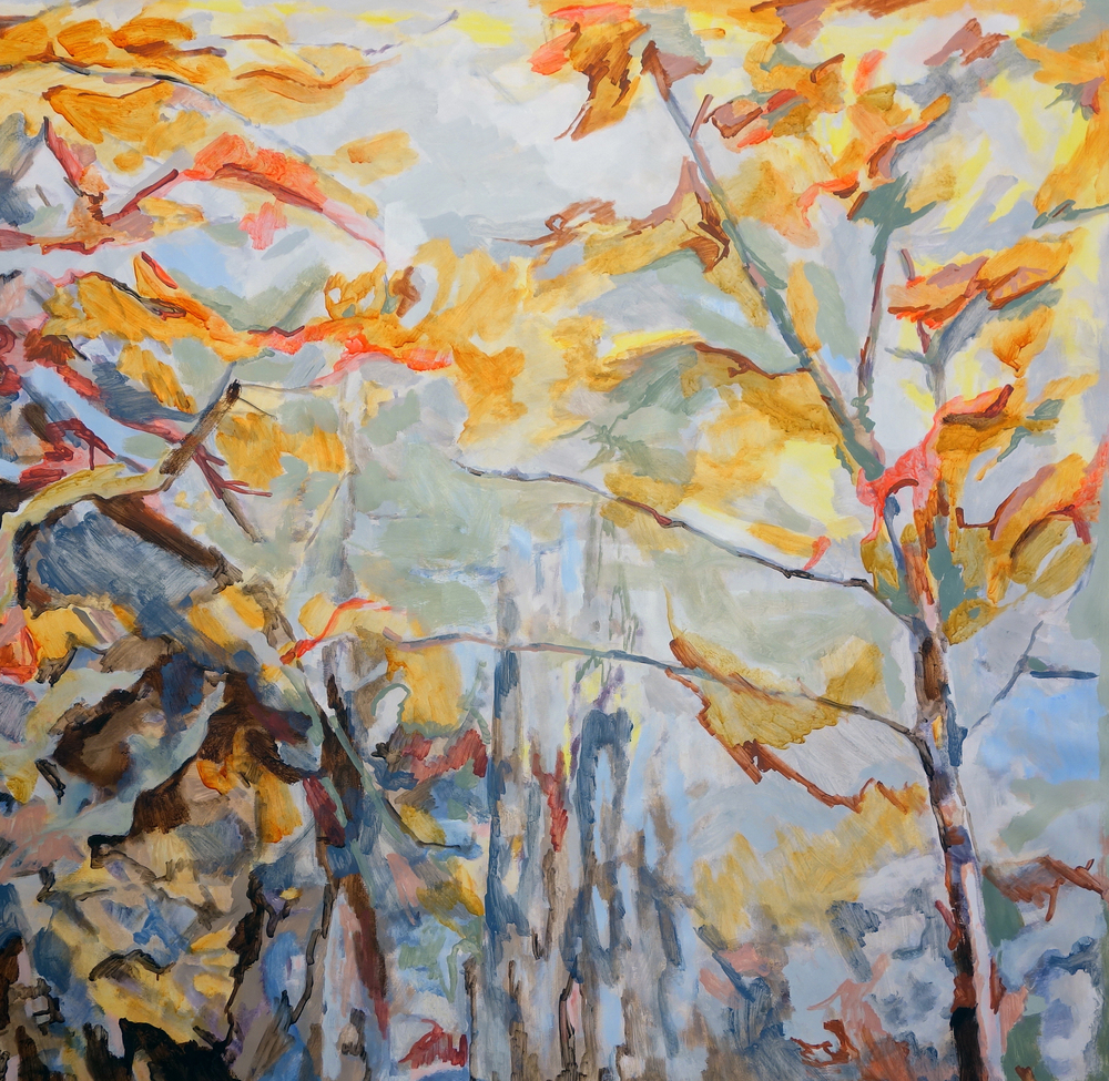 Adirondack Trees, synthetic polymer on canvas, 52 x 52 inches, 2014