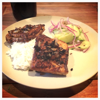 Finished Tofu Steaks - served with rice and cucumber salad (that recipe coming soon!!)