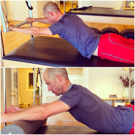 Top : Swan on the cadillac's push-through bar to open the chest and get some back extension in the upper back;  Bottom : Swan/yoga Cobra done on a foam roller for the same effect