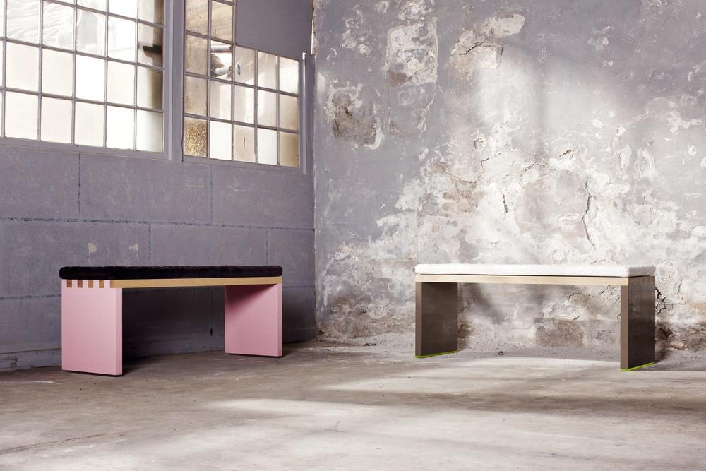 St. Anna Bench - Pink & Grey