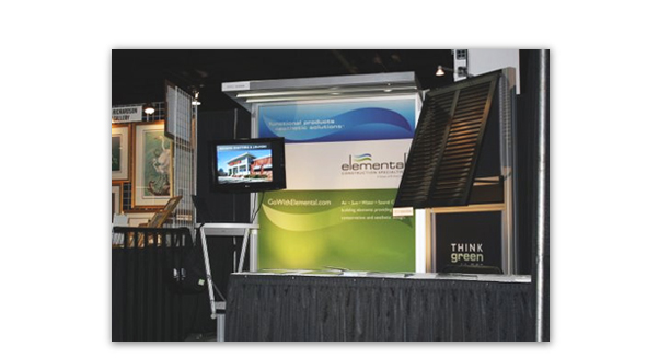 Elemental Construction Specialties booth. This booth was created from actual products that this company sells. Notice the sunshade at the top and the window louvers on the right side.