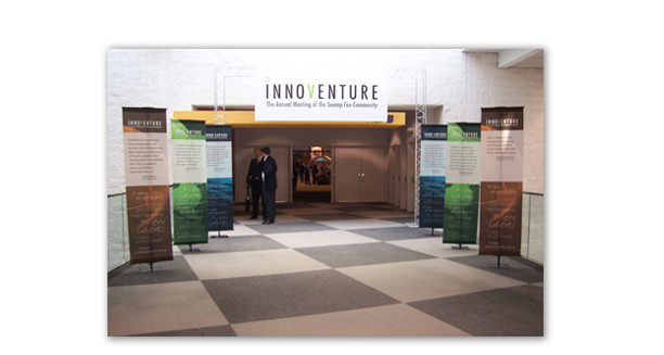 Innoventure trade show entrance. These panels were the main entrance to this show displaying the different types of companies represented here.