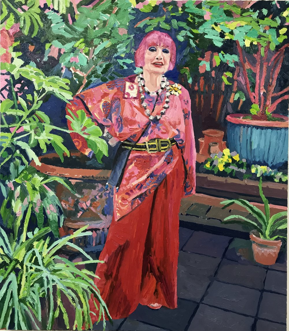 Dame Zandra Rhodes    Oil painting on box canvas, 71 x 81 cm / 28 x 32 inches  Framed £5,950