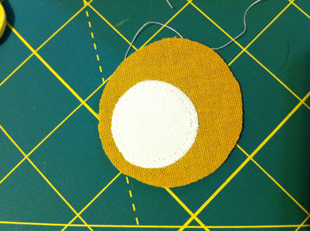 Attach smaller circle to bigger circle with zigzag stitch
